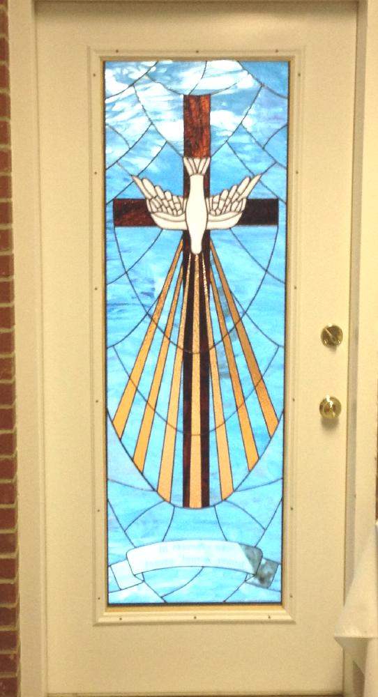 white dove light rays stained glass door
