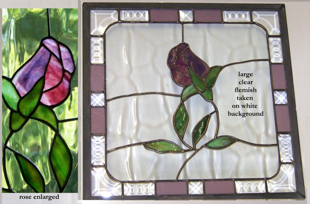 Purple Rose stained glass suncatcher