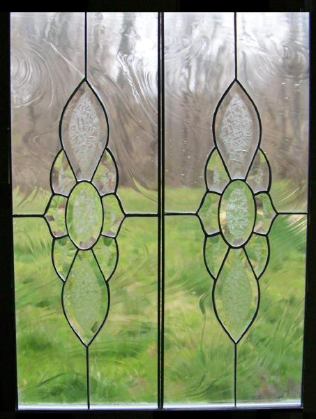 beveled cabinet door stained glass