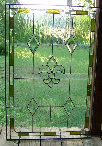 clear green textured diamond stained glass