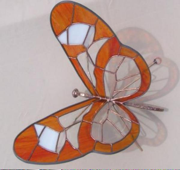 amber glasswing stained glass panel