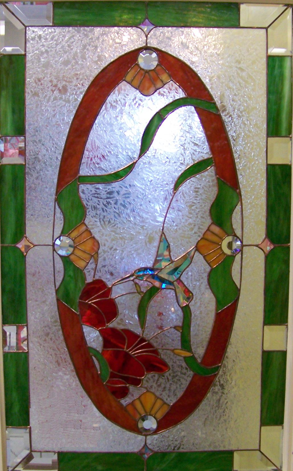 lilies ribbon green garden stained glass