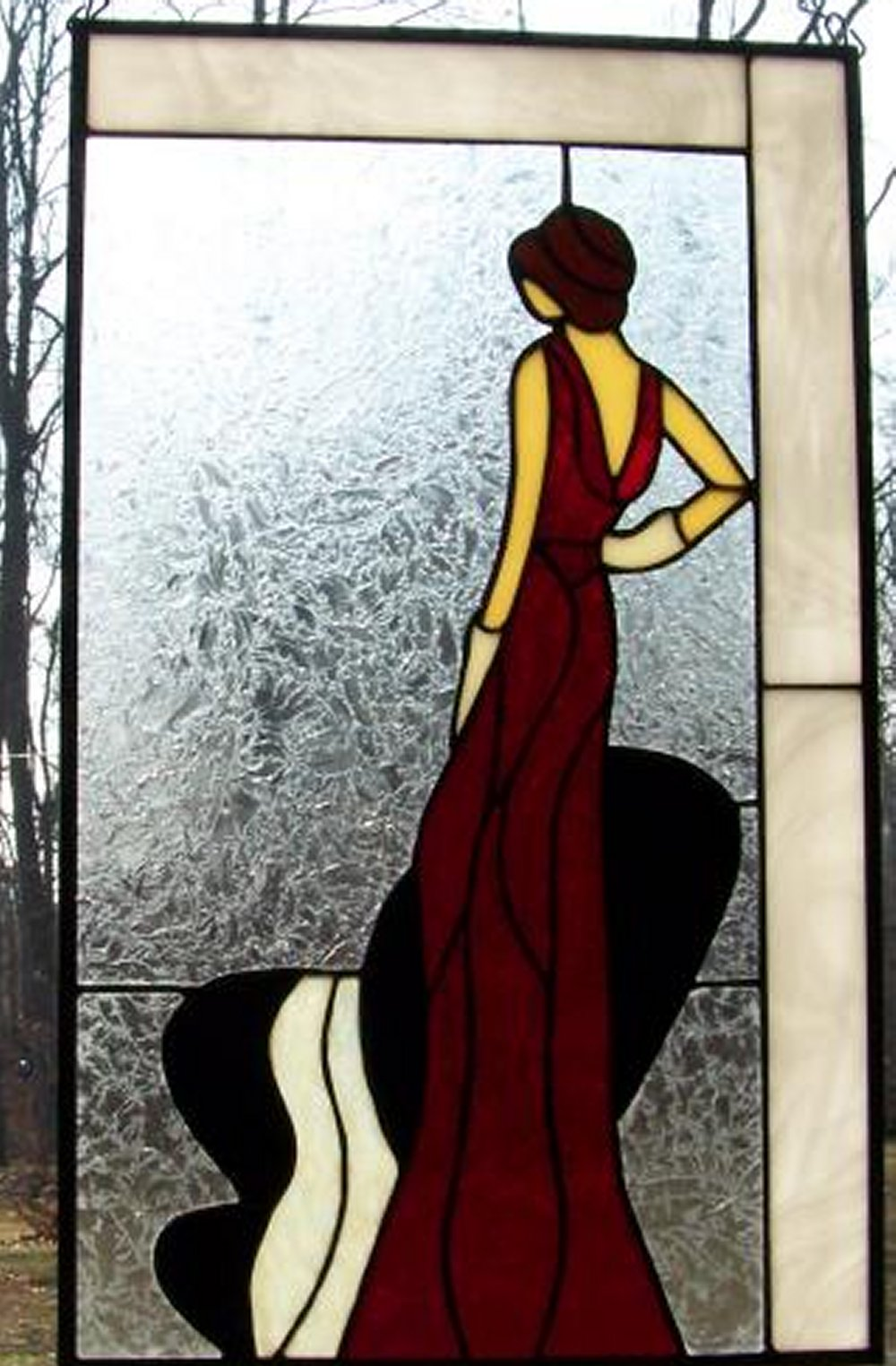 evening dress red stained glass window
