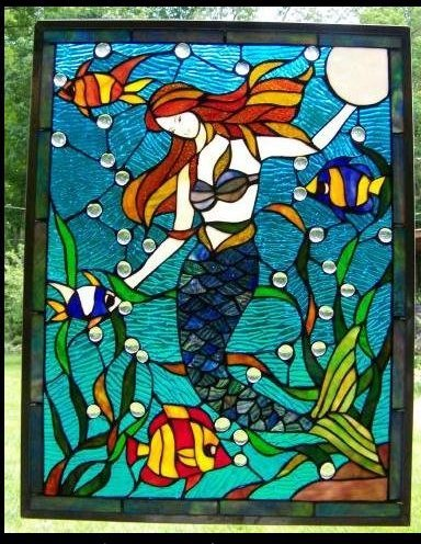 mermaid stained glass repair