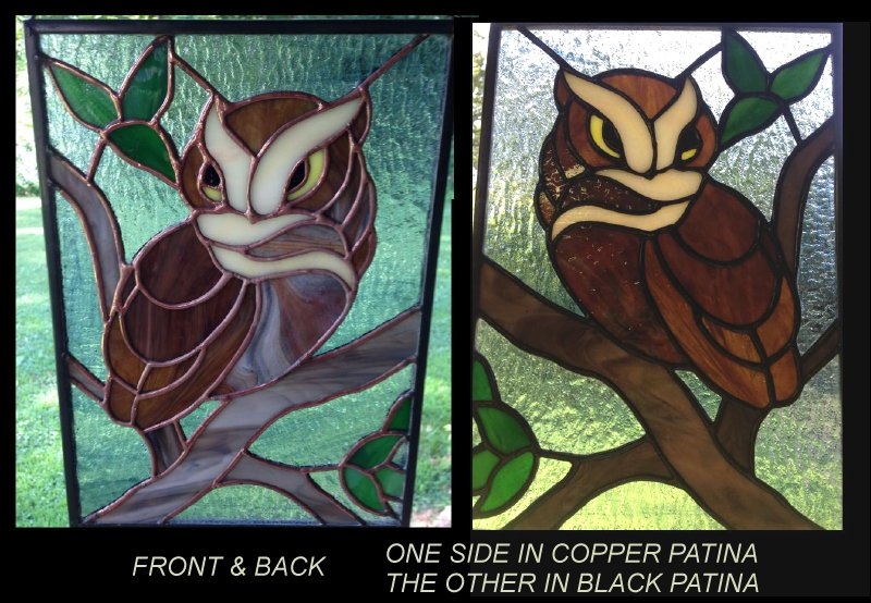 wise owl stained glass