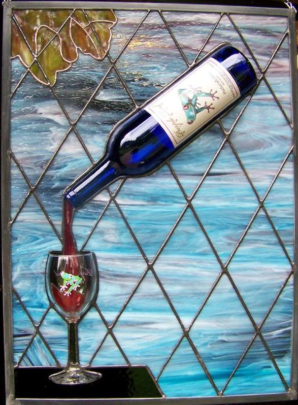 Beautiful sky toad winery stained glass