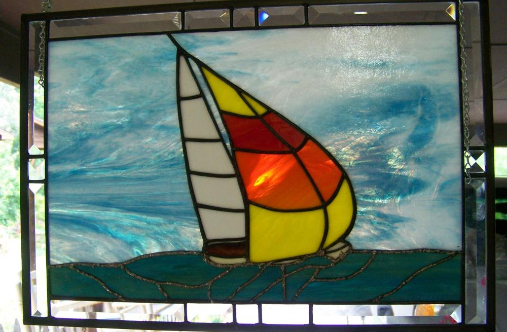 Orange Sail boat fun sun water ocean
