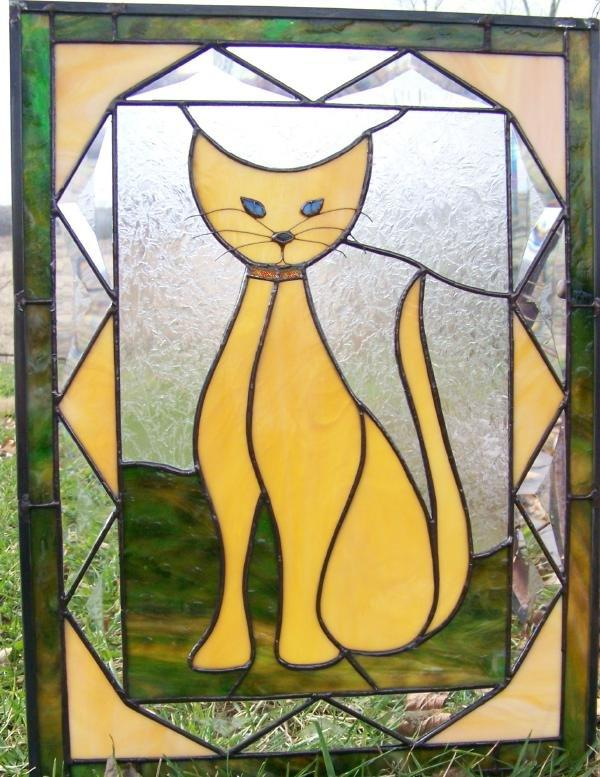 sassy cat stained glass window