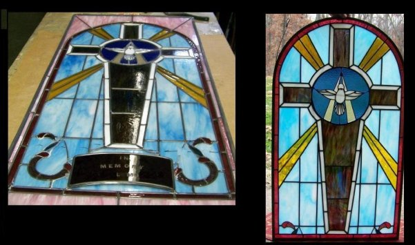 stained glass down size church