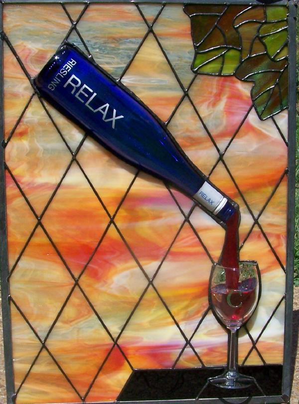 sunny relax wine bottle stained glass
