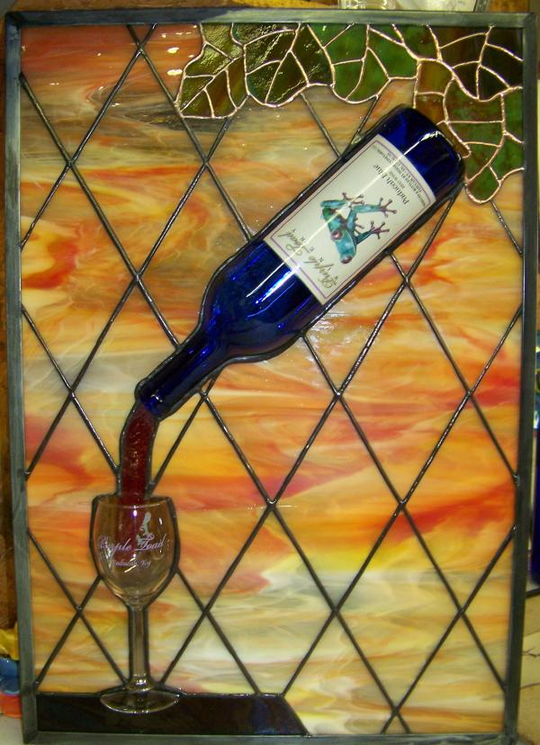pouring wine glass bottle stained glass