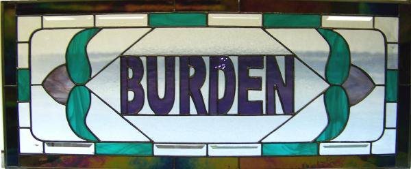 purple teal beveled stained glass
